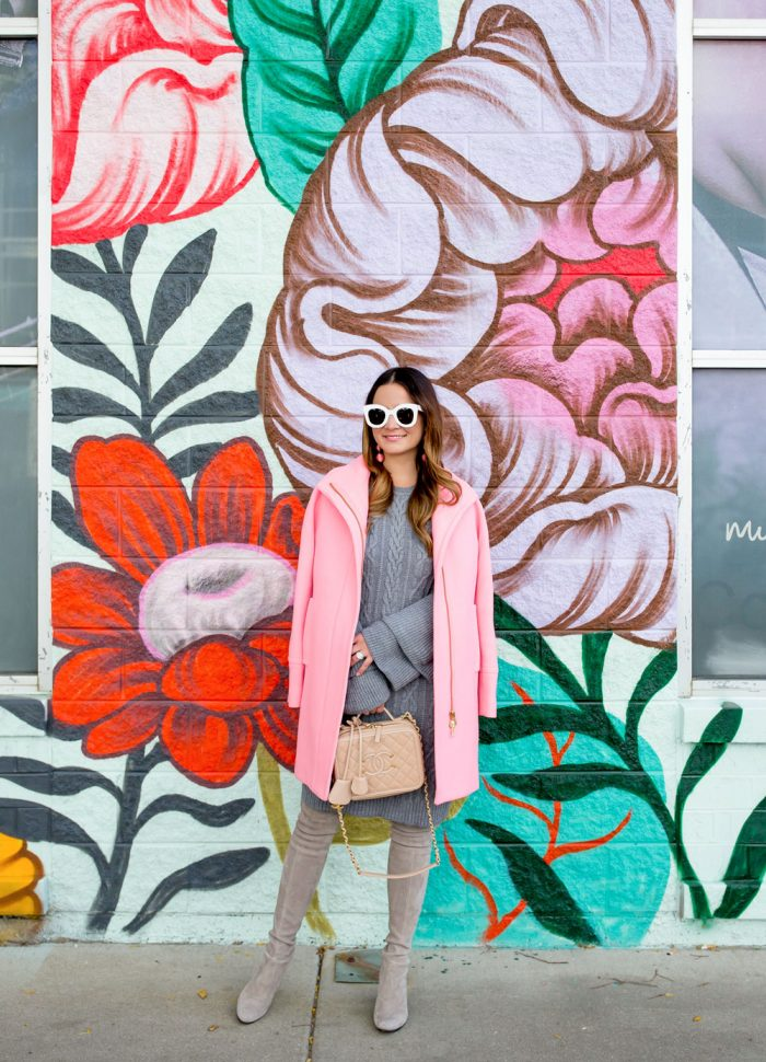 Pink Cocoon Coat and Grey Sweater Dress