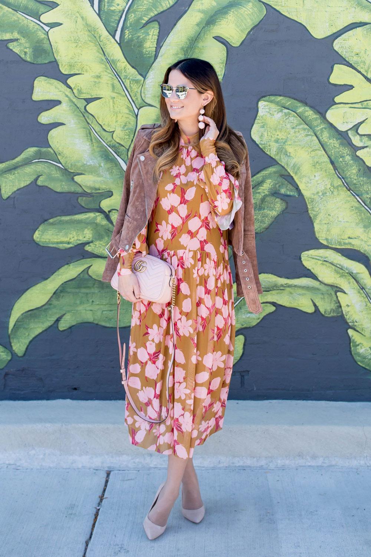 Pink Floral Drop Waist Midi Dress