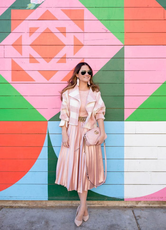 Pink Buffalo Check Crop Jacket and Satin Pleated Dress