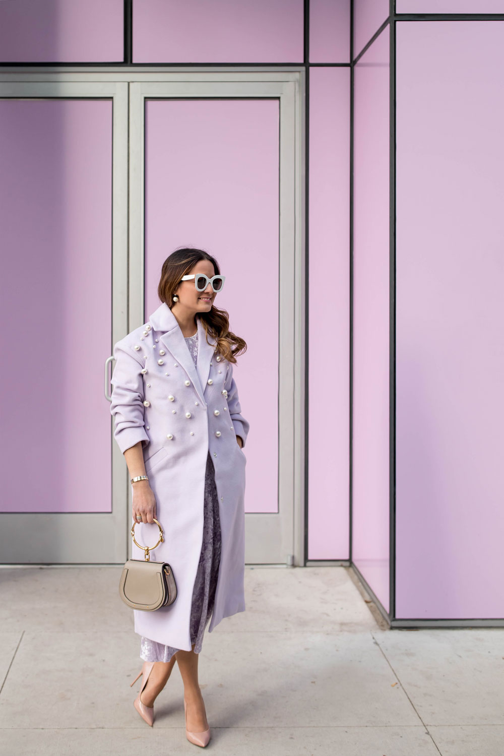 Purple Lilac Pearl Embellished Coat