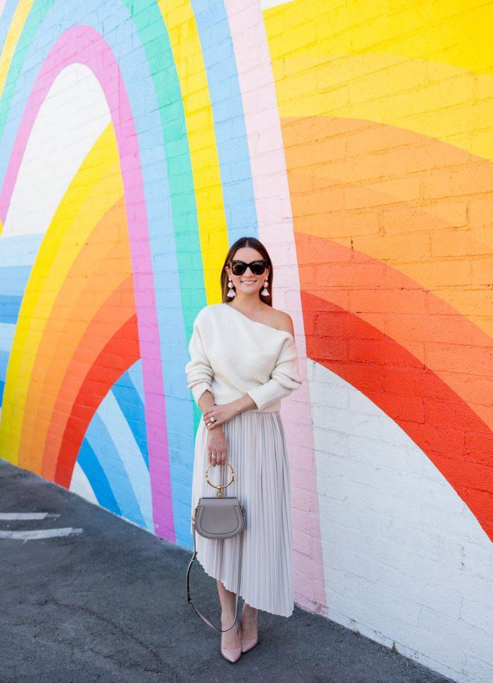 Asymmetrical Pleated Skirt | Rainbow Mural Los Angeles