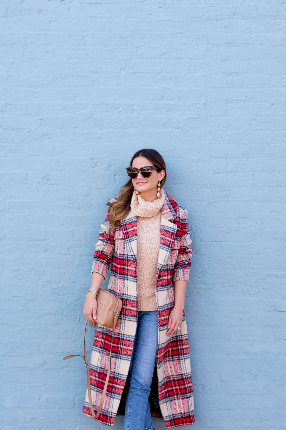 Red Check Long Coat