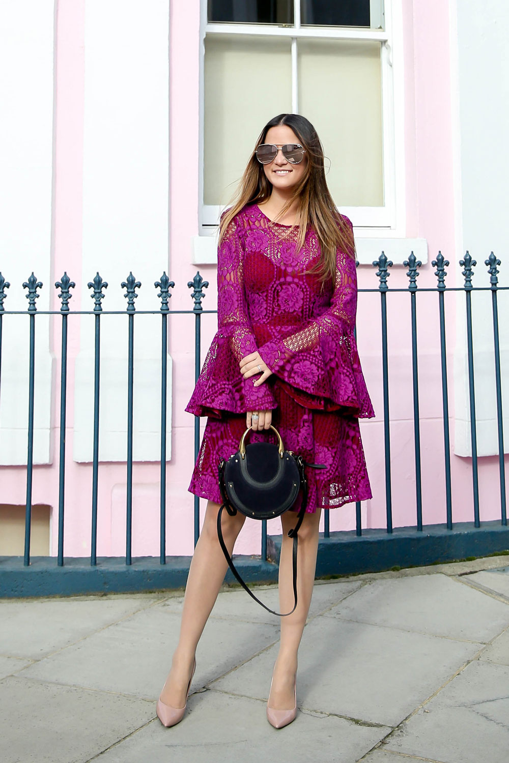 Red Pink Lace Bell Sleeve Dress