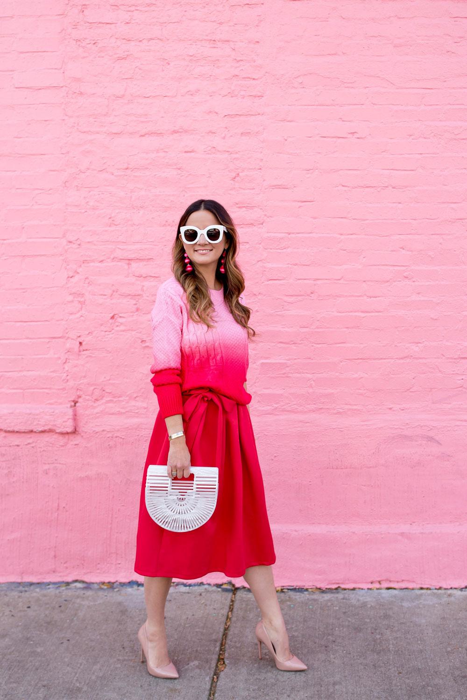 Red Tie Waist Midi Skirt