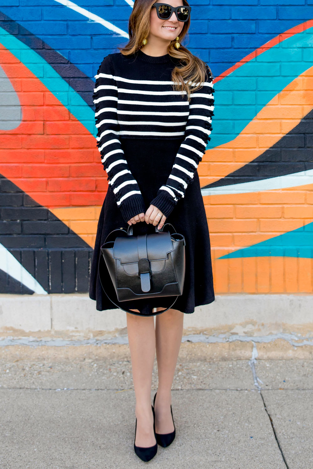 Stripe Fit And Flare Sweater Dress And Senreve Maestra Bag