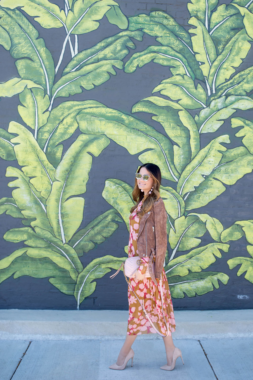 d7b40a4241c Pink and Tan Floral Midi Dress and Suede Jacket | Chicago Leaf Mural