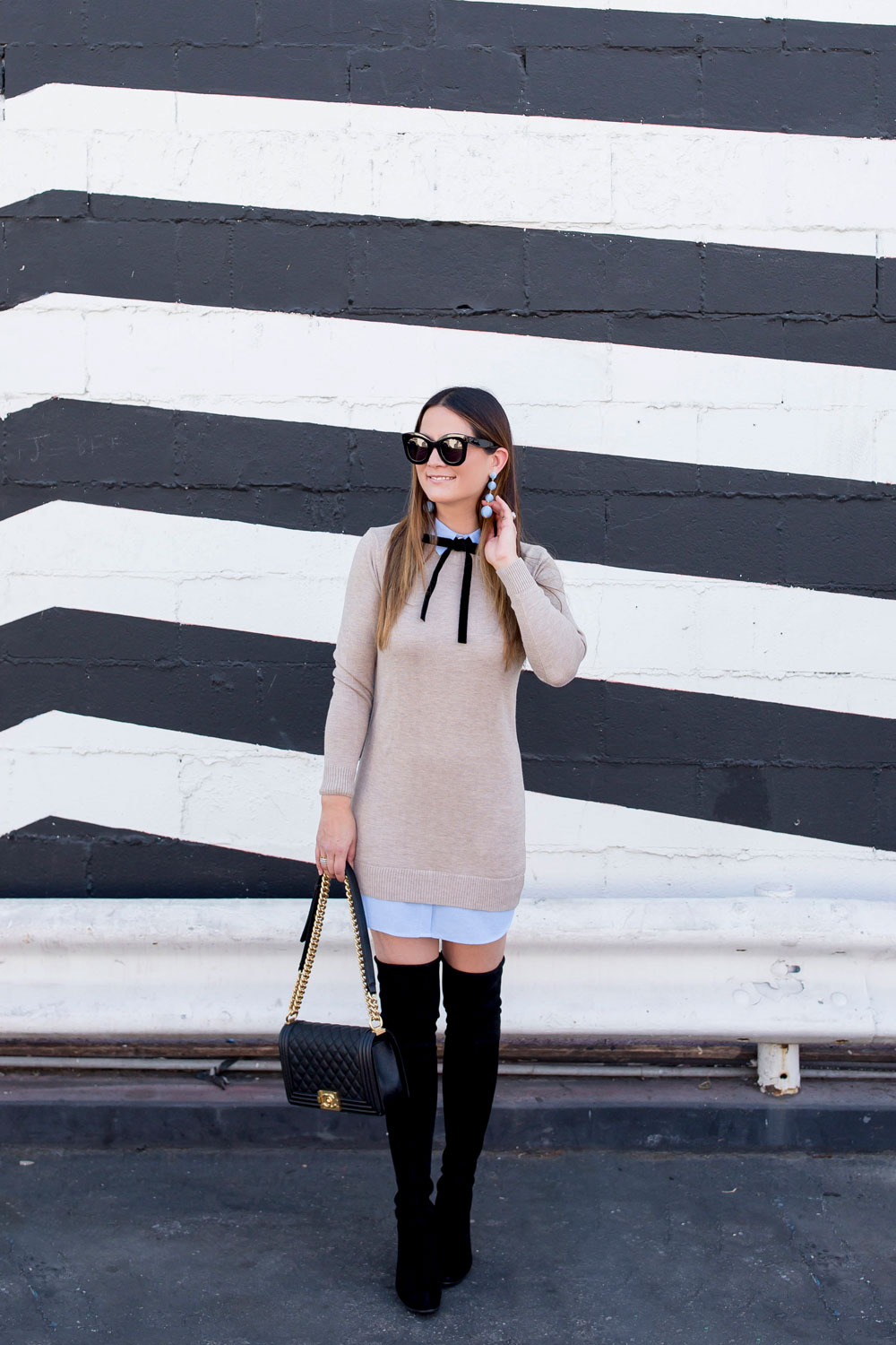 Tan Sweater Dress Outfit