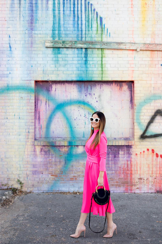 ASOS Bold Pink Midi Dress