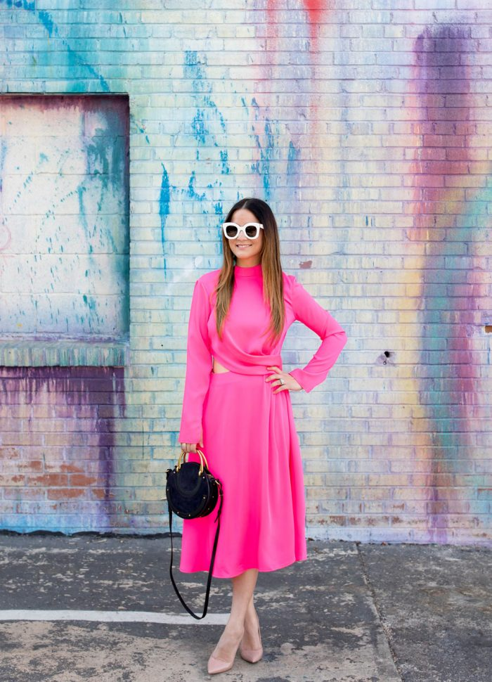 Bright Pink Cut Out Midi Dress | Houston, Texas