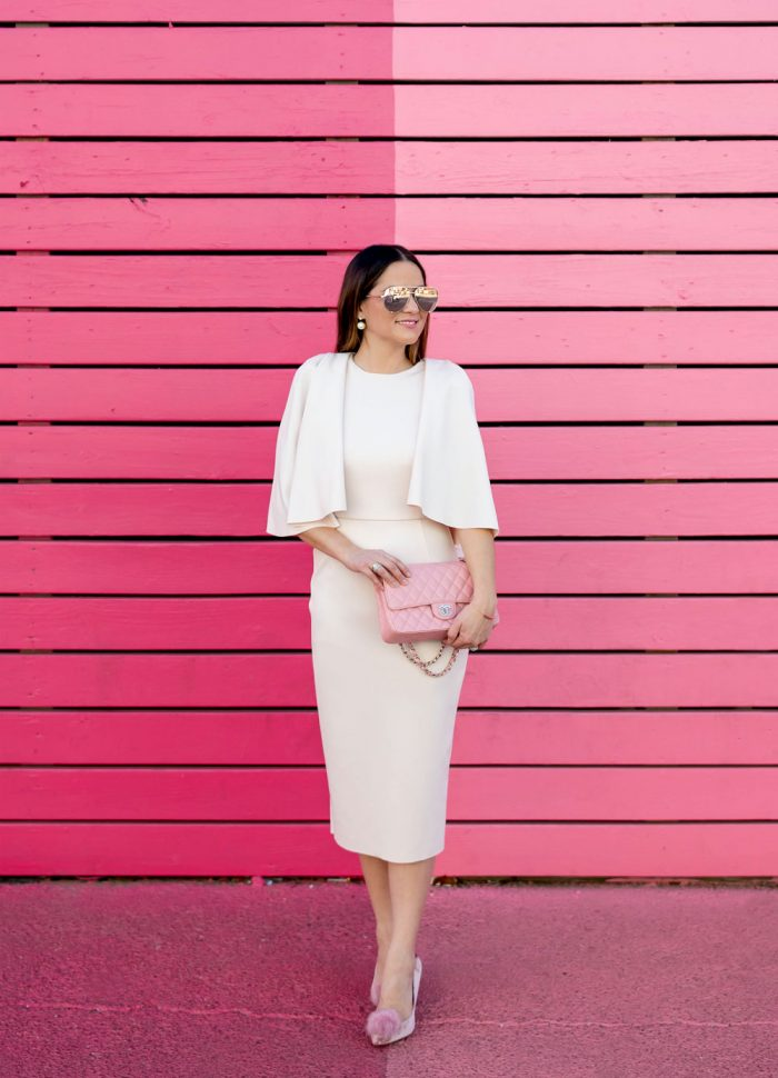 Pale Pink Cape Sleeve Dress in Houston
