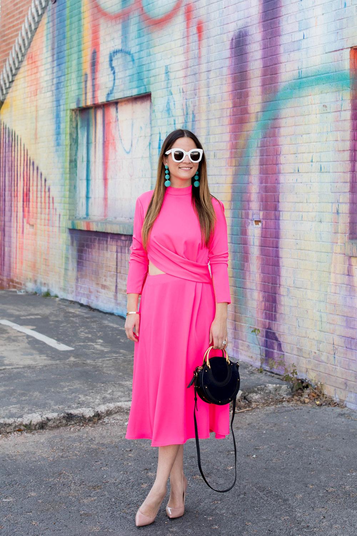 Bold Pink Cut Out Midi Dress
