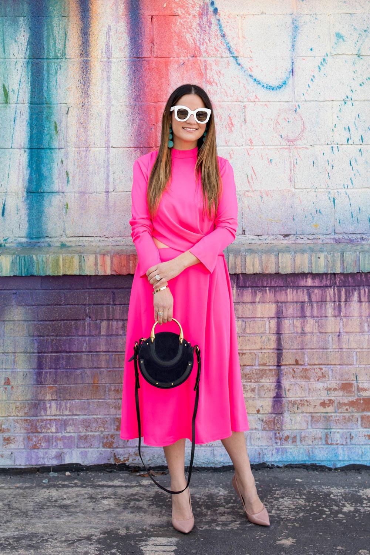 Bold Pink Long Sleeve Midi Dress