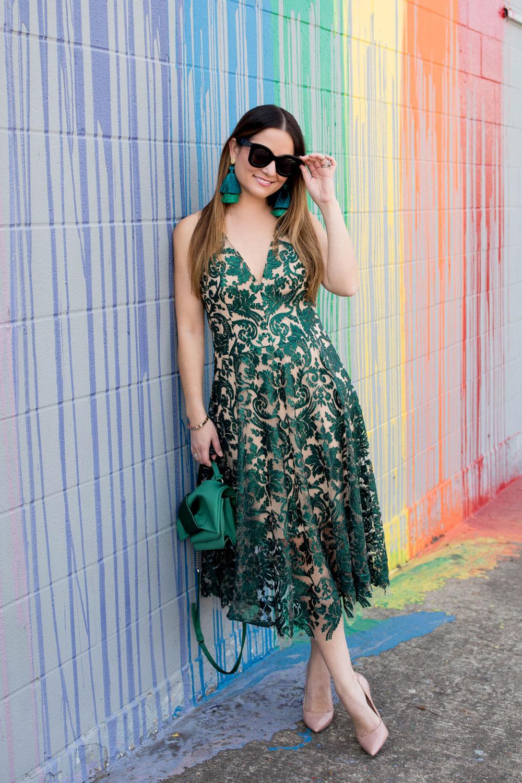 Green Embellished Fit Flare Dress