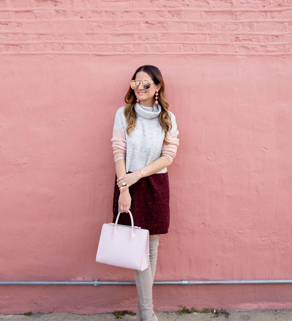 Grey Burgundy Sweater Dress