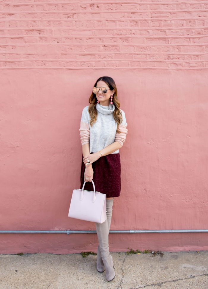 Colorblock Sweater Dress and Strathberry Midi Tote