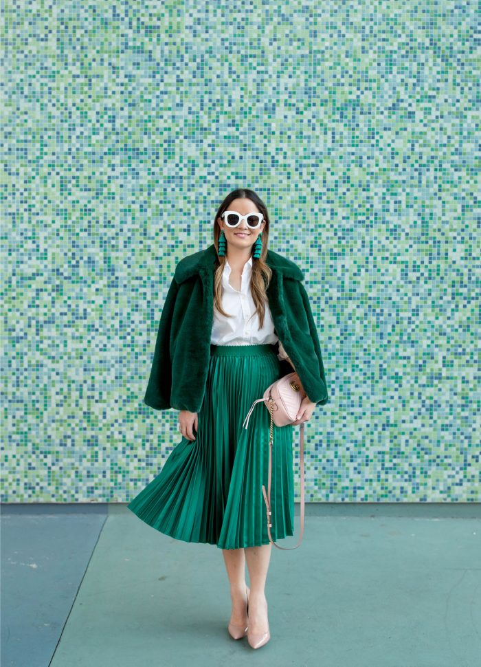 Green Satin Pleated Midi Skirt and Faux Fur Jacket