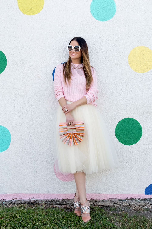 Jennifer Lake Tulle Skirt Pink Sweater