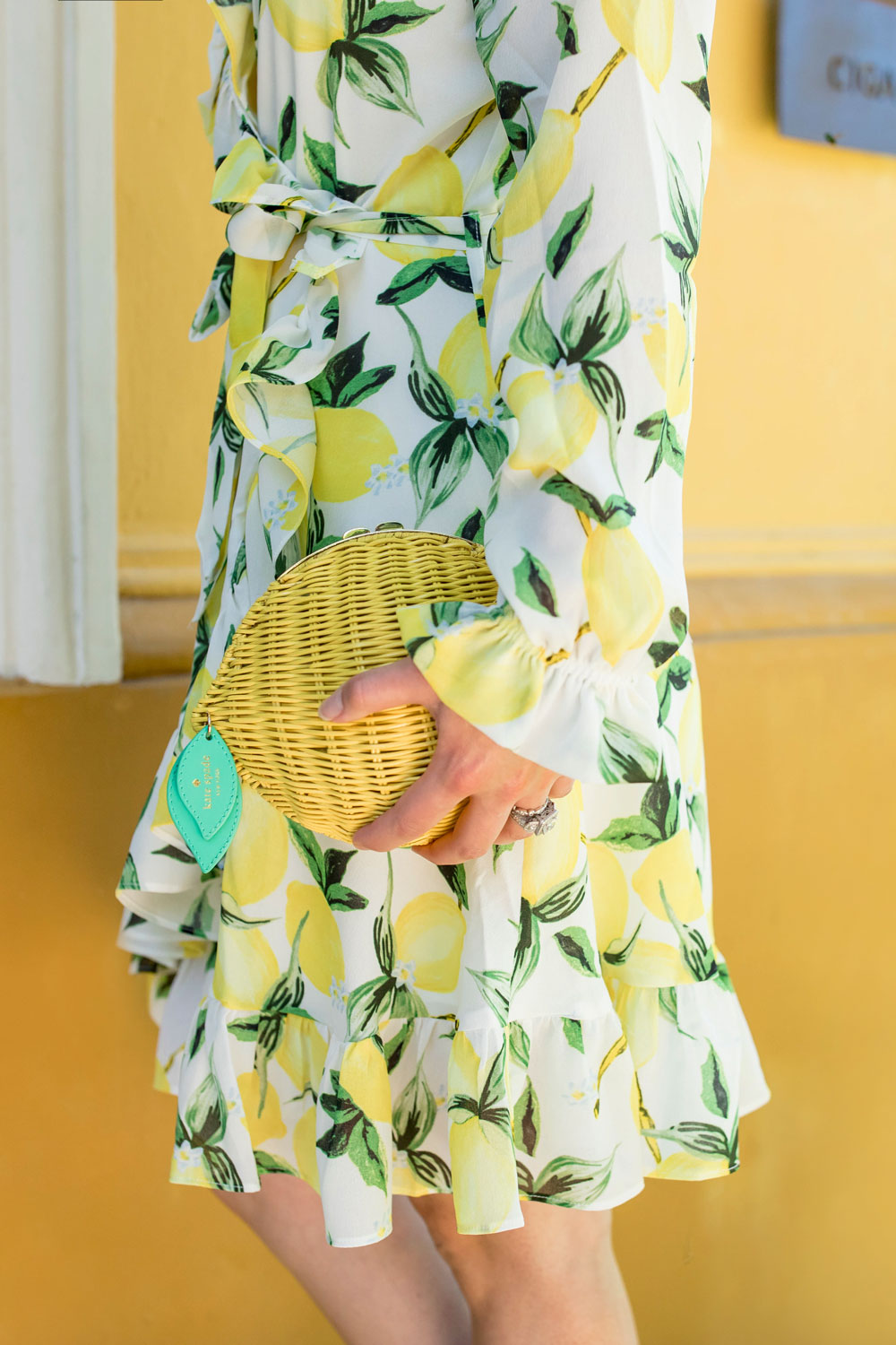 Kate Spade Wicker Lemon Clutch