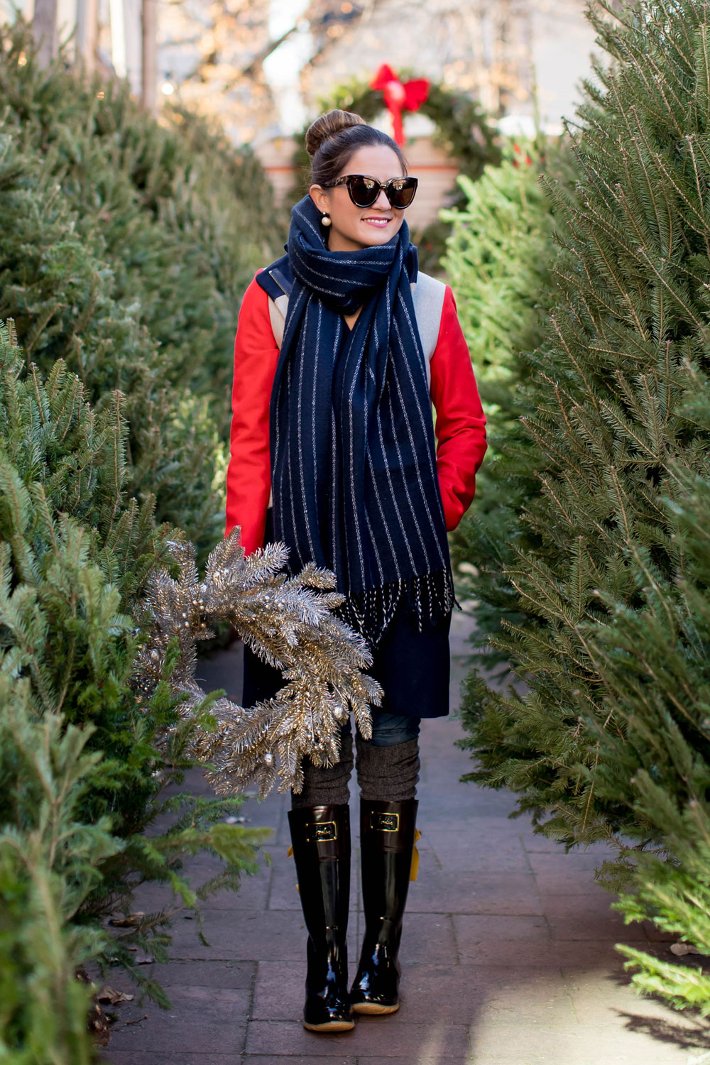 Navy White Stripe Fringe Scarf