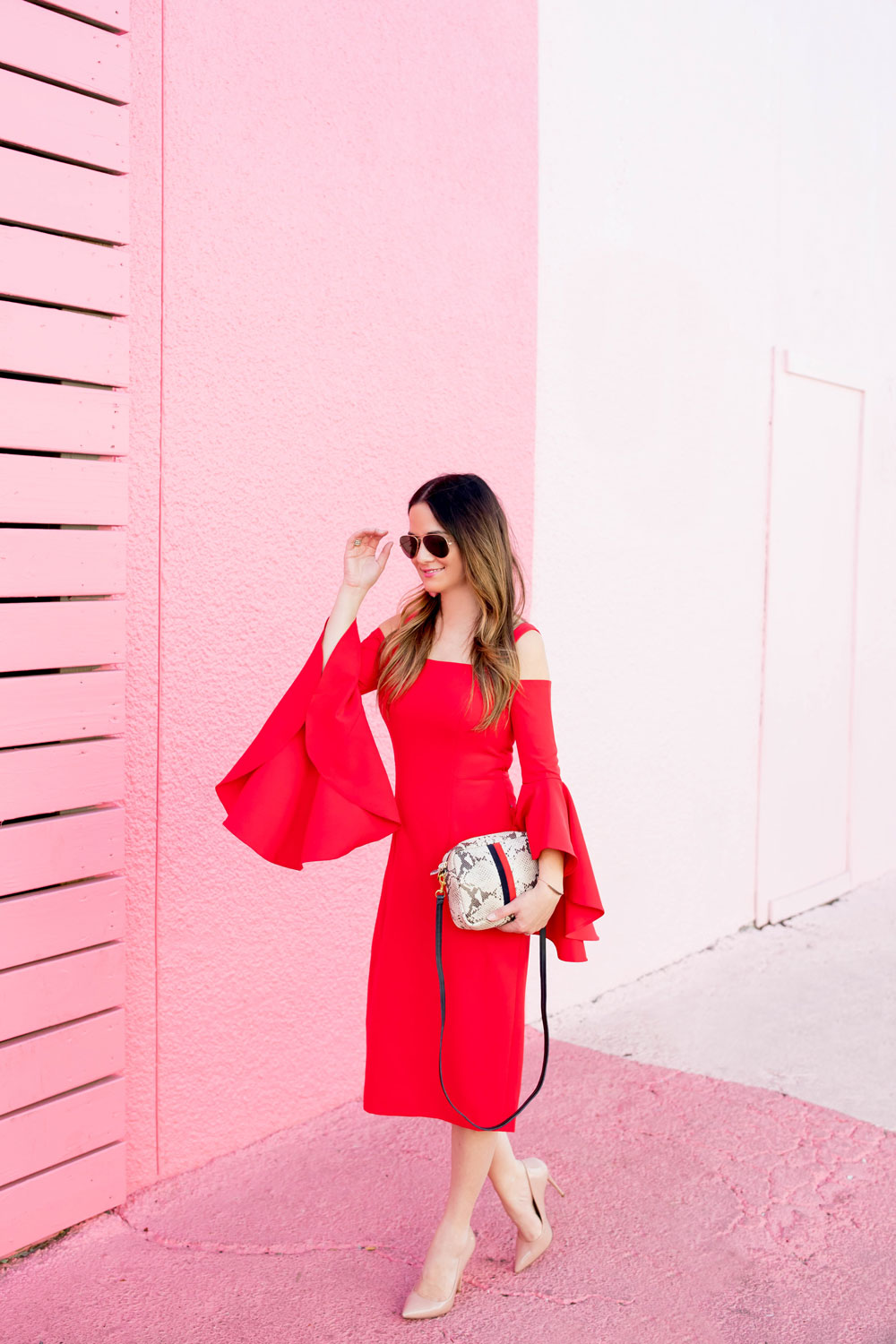 Nordstrom Red Bell Sleeve Dress