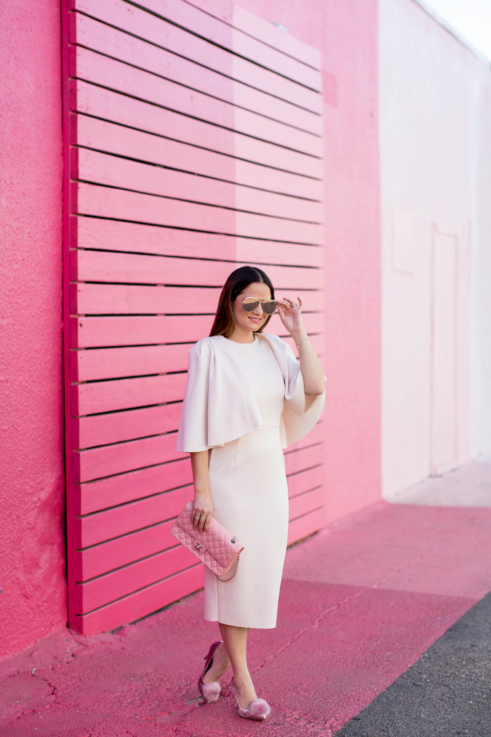 Pale Pink Cape Sleeve Dress