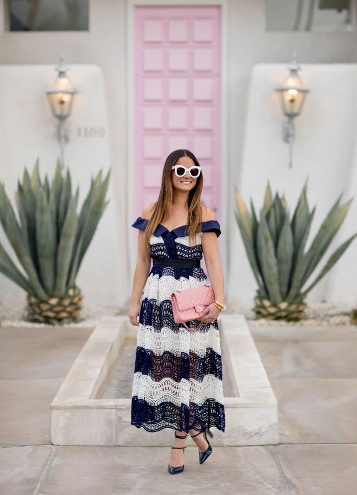 Navy and White Lace Dress at the Palm Springs Pink Door