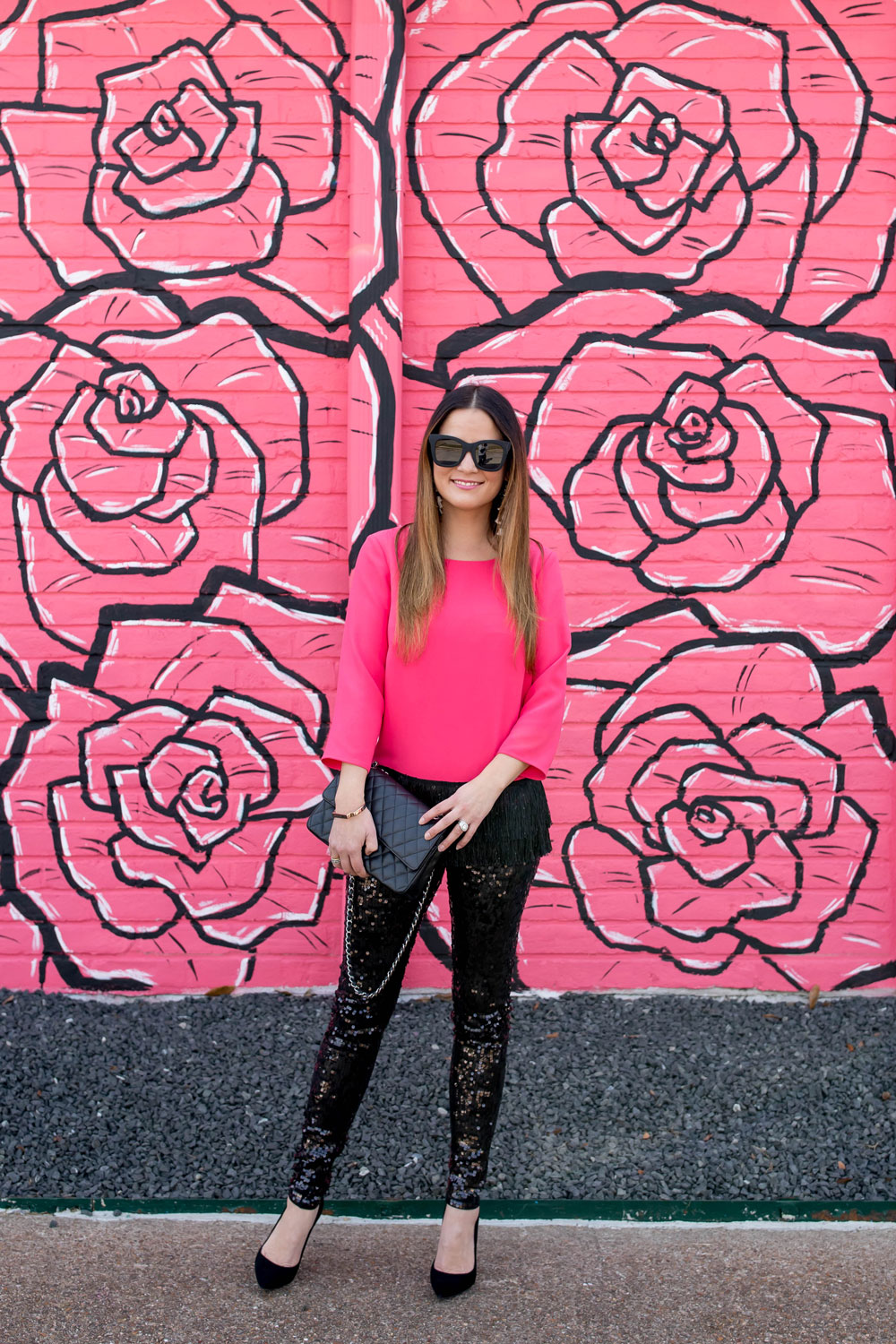 Pink Flower Mural Houston