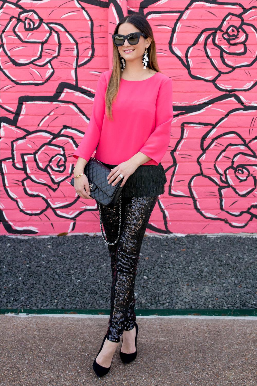 Pink Fringe Hem Top