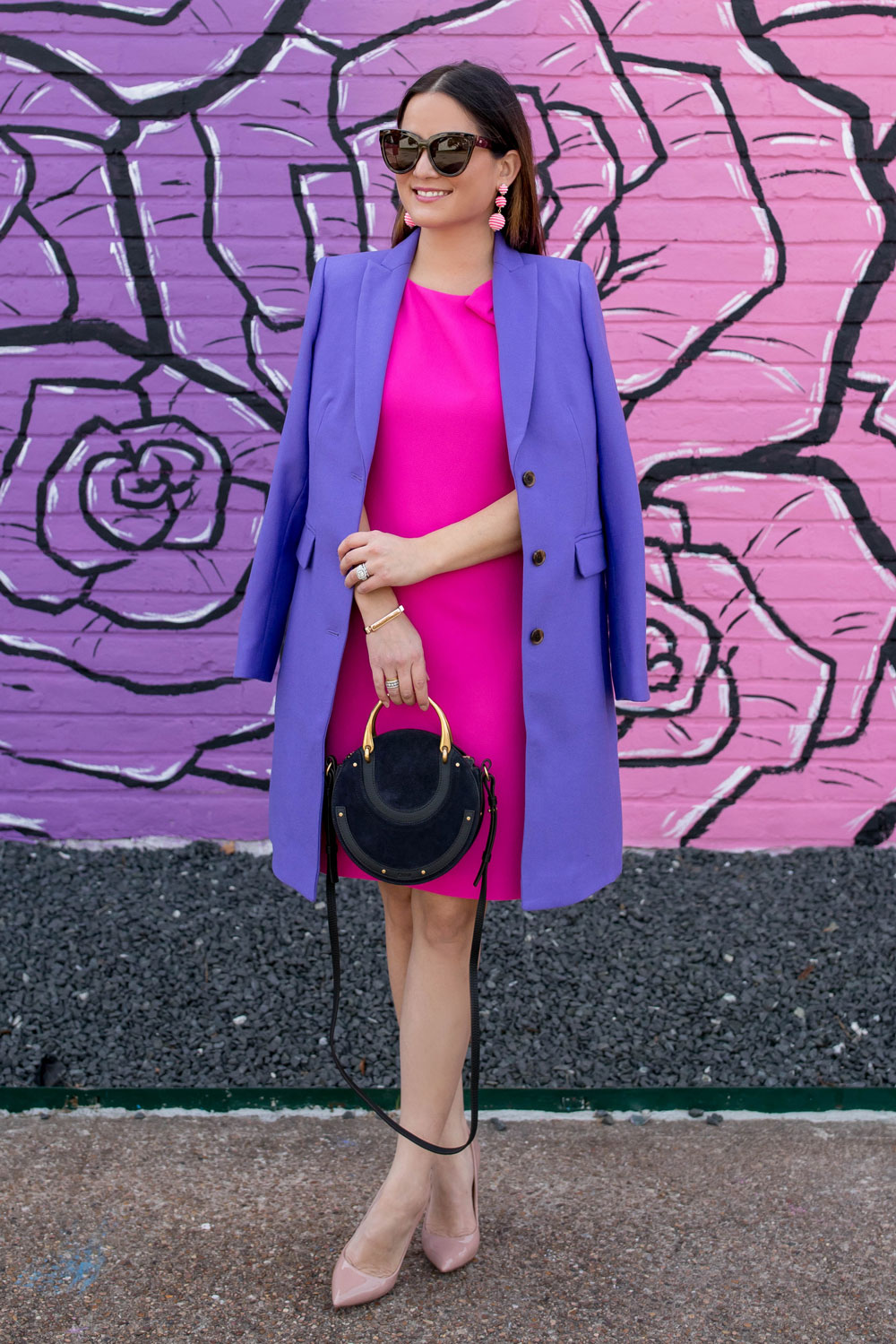 Pink Shift Dress Purple Coat