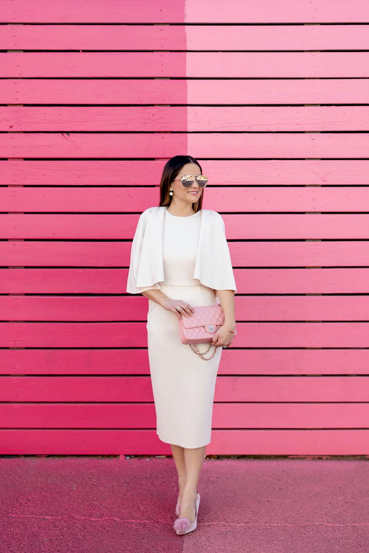 Pink Statement Sleeve Midi Dress