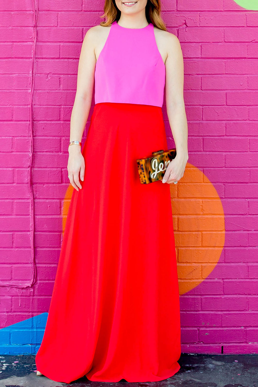 Red Pink Colorblock Gown