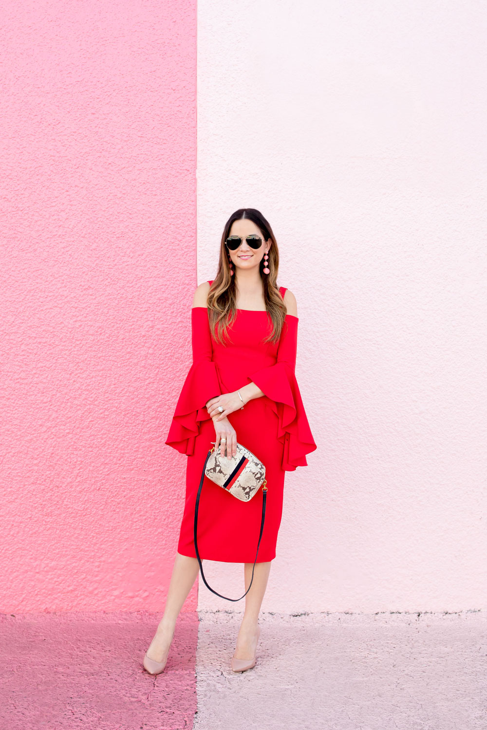 Red Statement Sleeve Dress