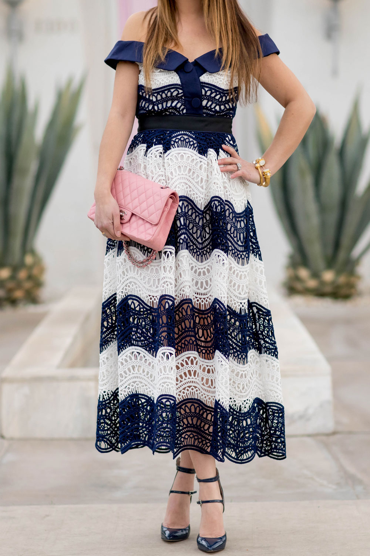 Self Portrait Wave Lace Off Shoulder Dress