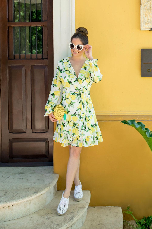 Shopbop Lemon Print Wrap Dress