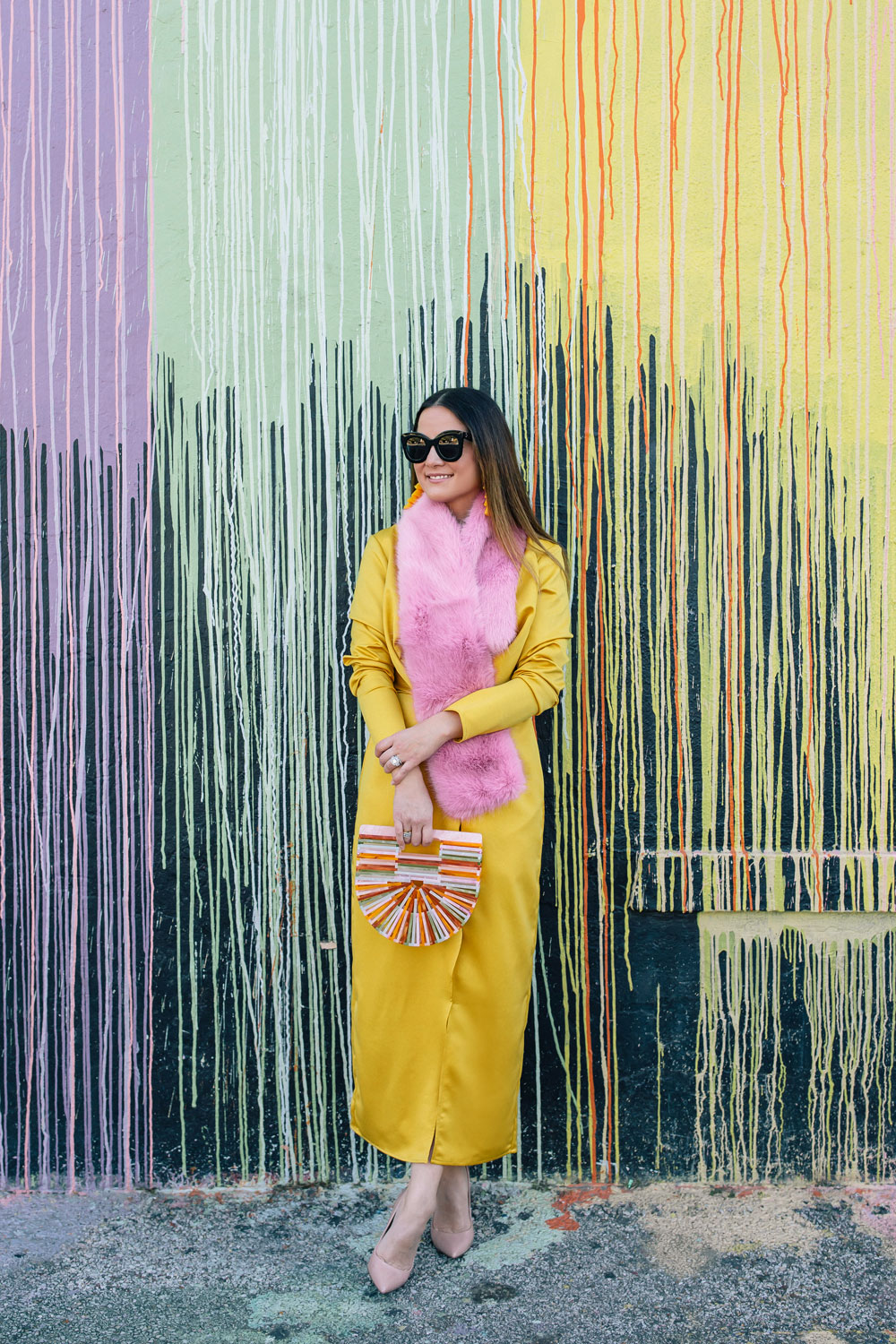 ASOS Yellow Satin Long Sleeve Dress