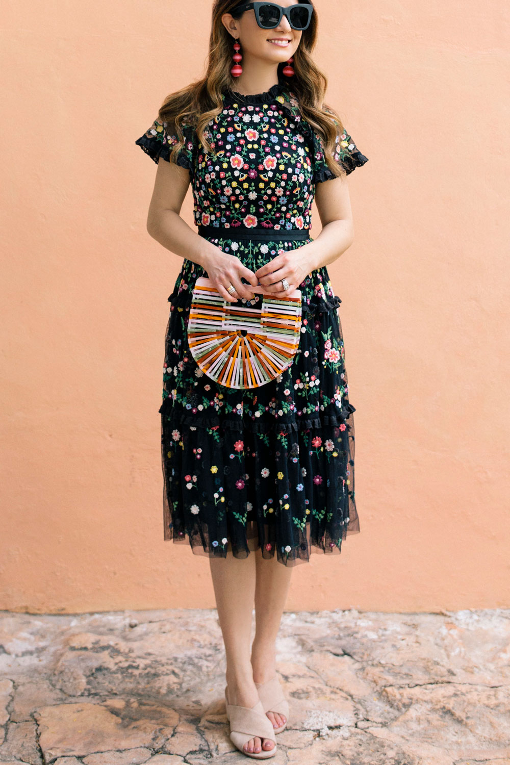 Black Multicolor Floral Embroidered Fit and Flare Dress