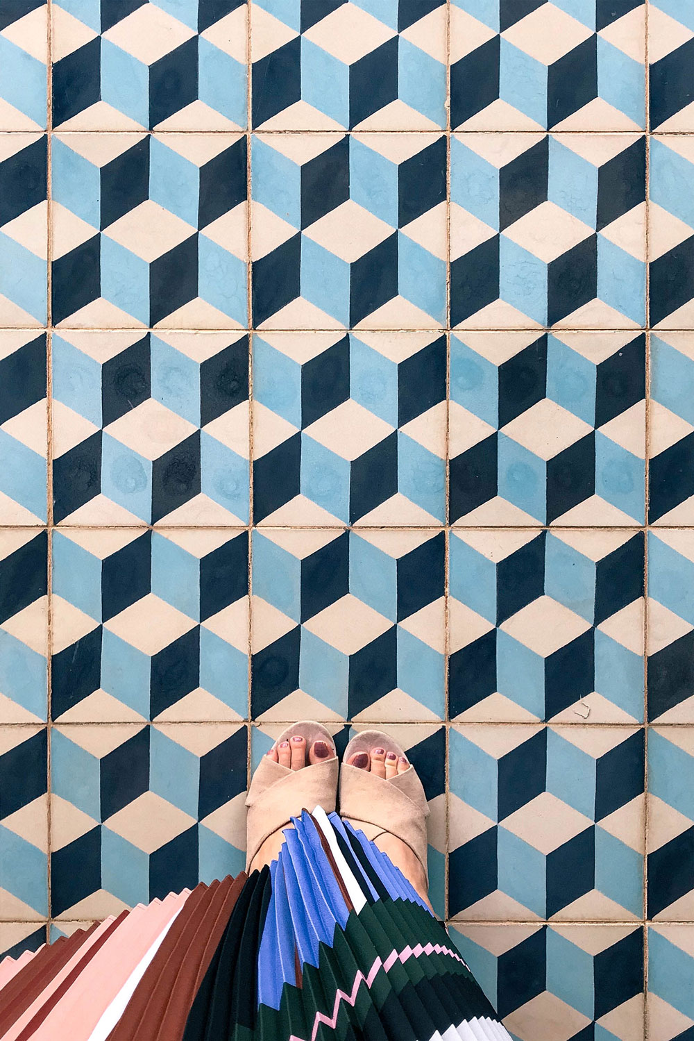 Blue Cubist Tiles