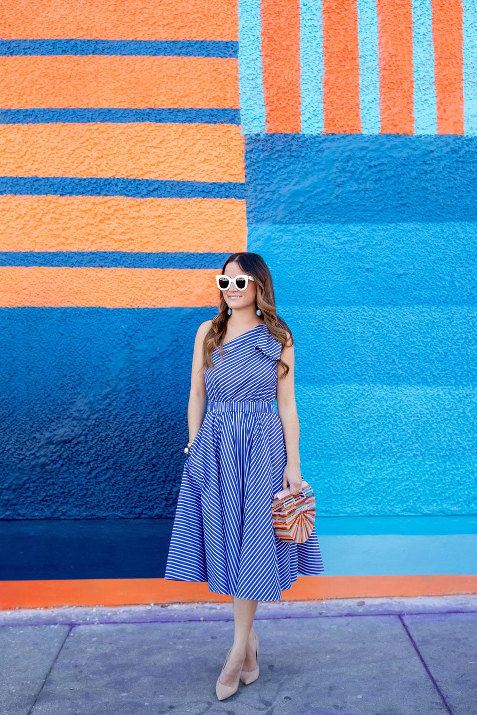 Blue Stripe One Shoulder Dress
