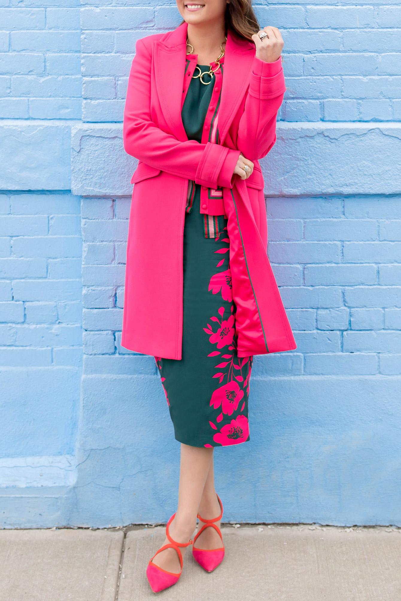 Boden Green Pink Leaf Print Dress