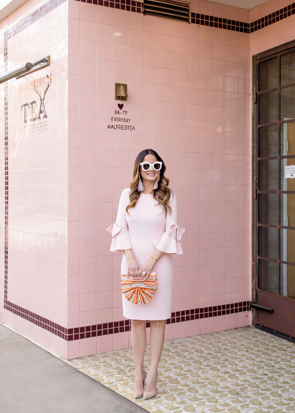 Donna Mogan Pink Bow Sleeve Sheath Dress At Alfred Tea Room