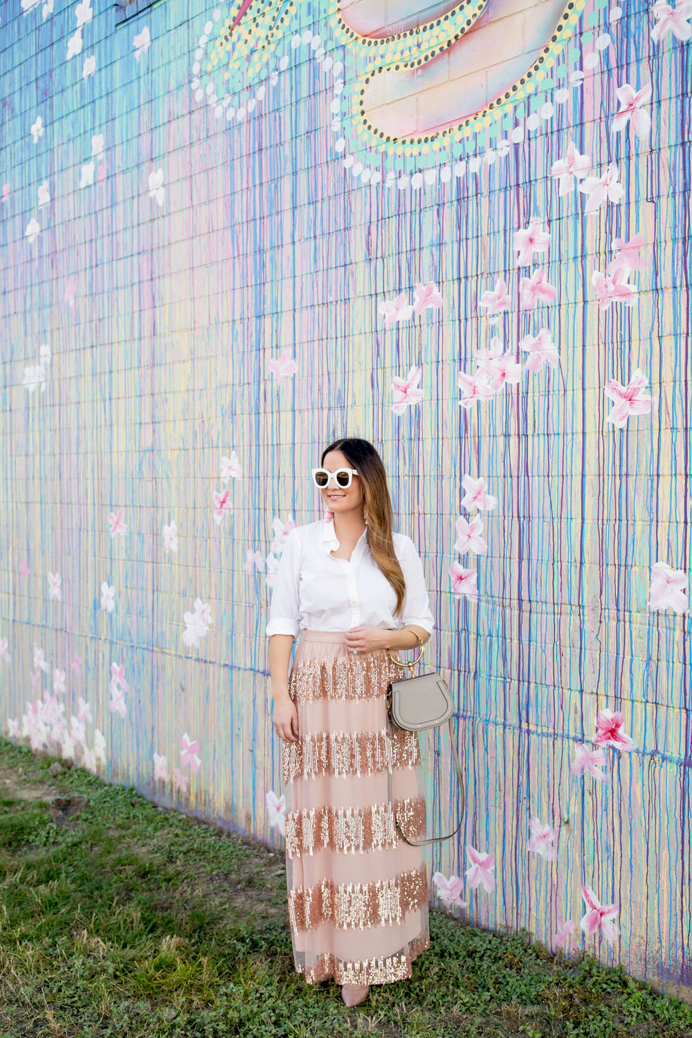 Colorful Floral Drip Paint Mural Houston
