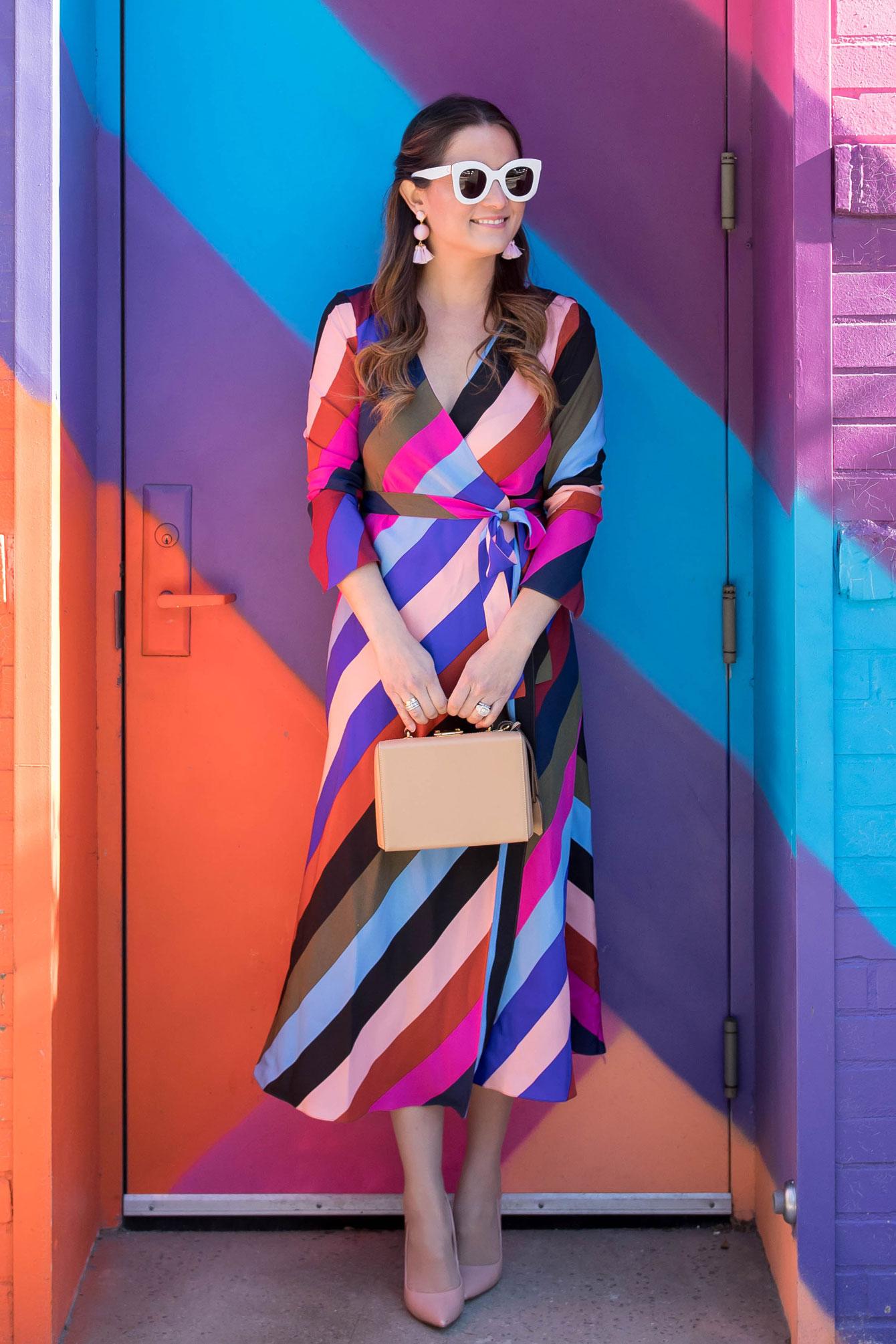 DVF Stripe Silk Wrap Midi Dress