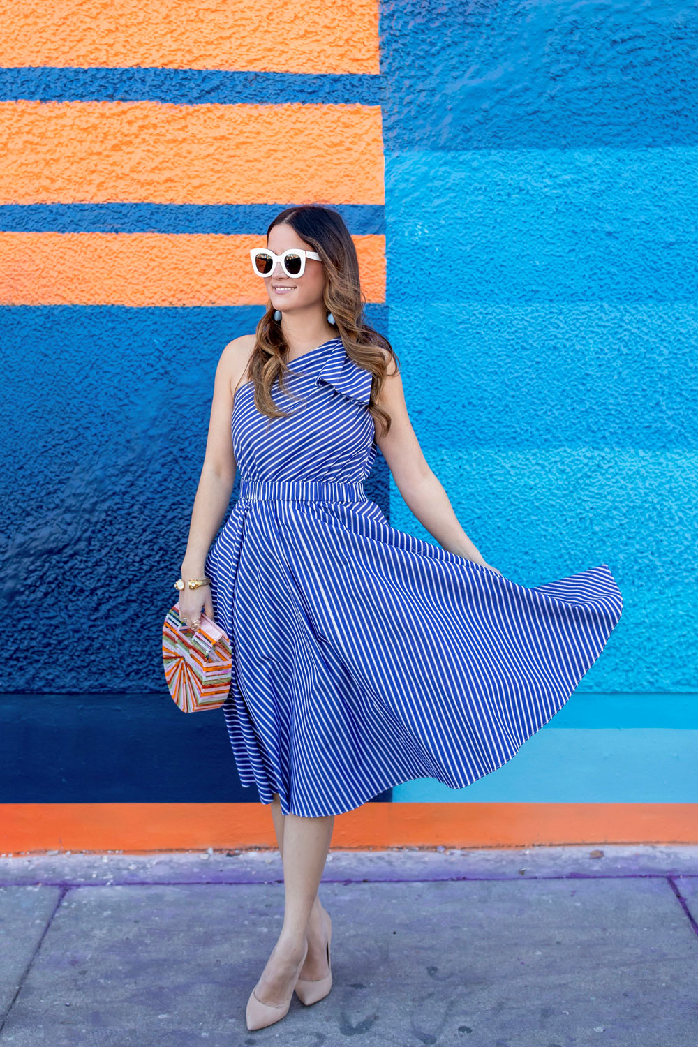 One Shoulder Blue Stripe Fit Flare Dress At Wynwood Walls