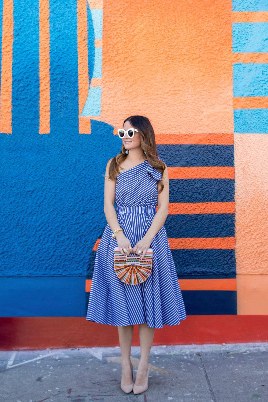Eliza J One Shoulder Blue Stripe Dress