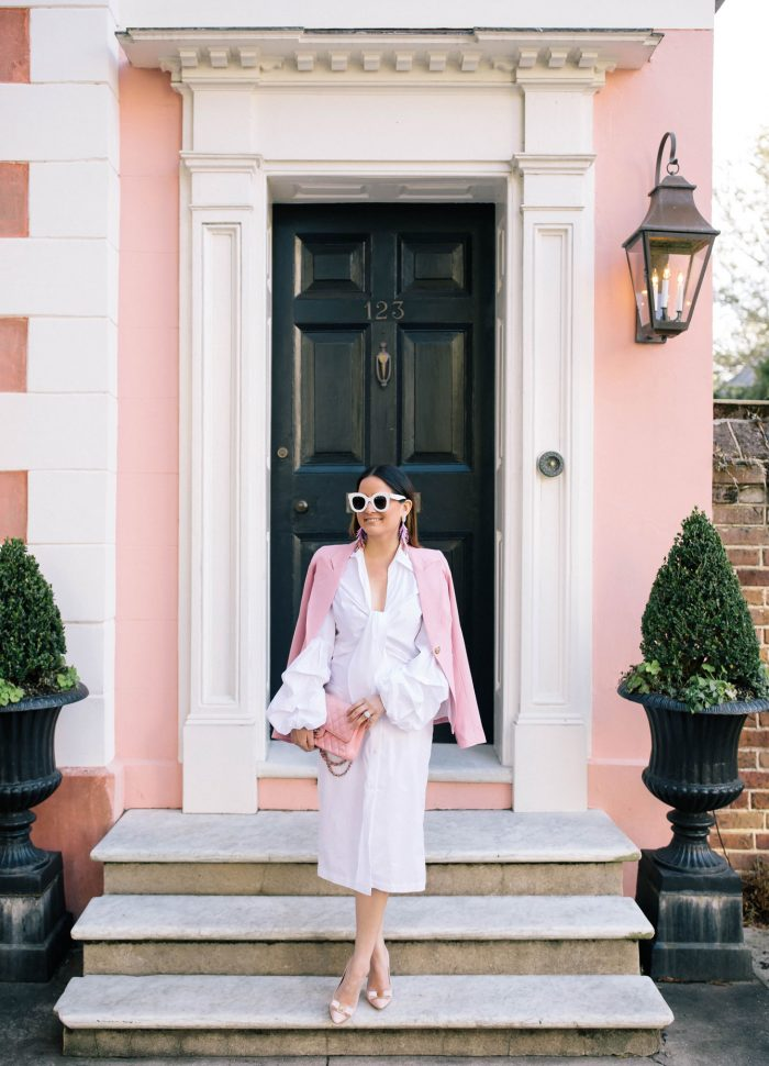 White Tie Front Midi Dress and Pink Blazer in Charleston