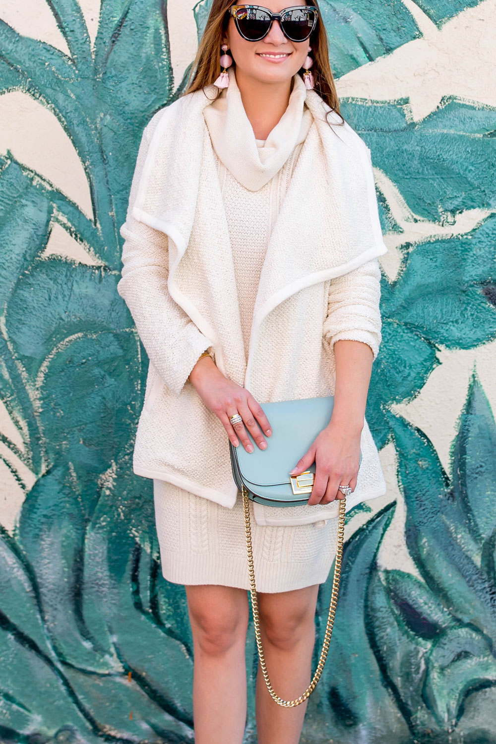Ivory Draped Cardigan Sweater