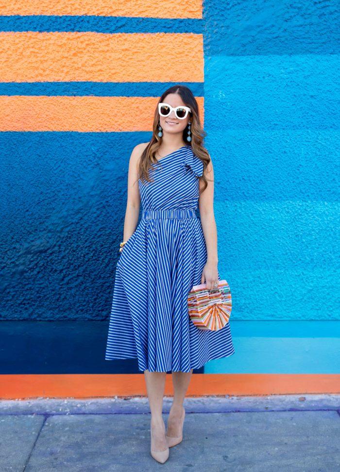 One Shoulder Blue Stripe Fit Flare Dress at Wynwood Walls Miami