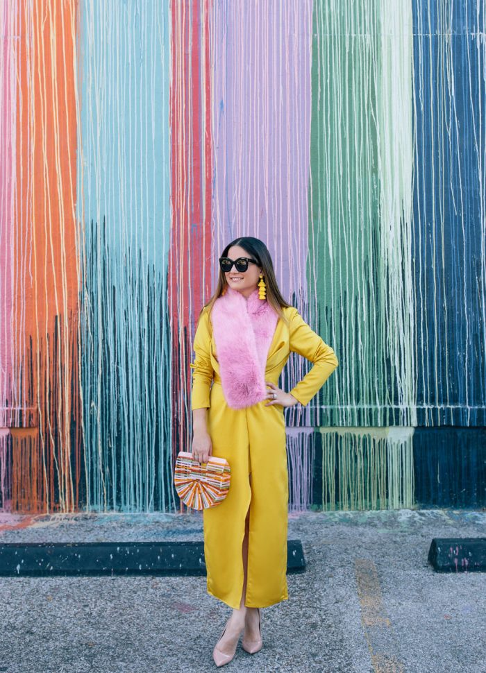 Yellow Satin Midi Dress and a Pink Faux Fur Stole