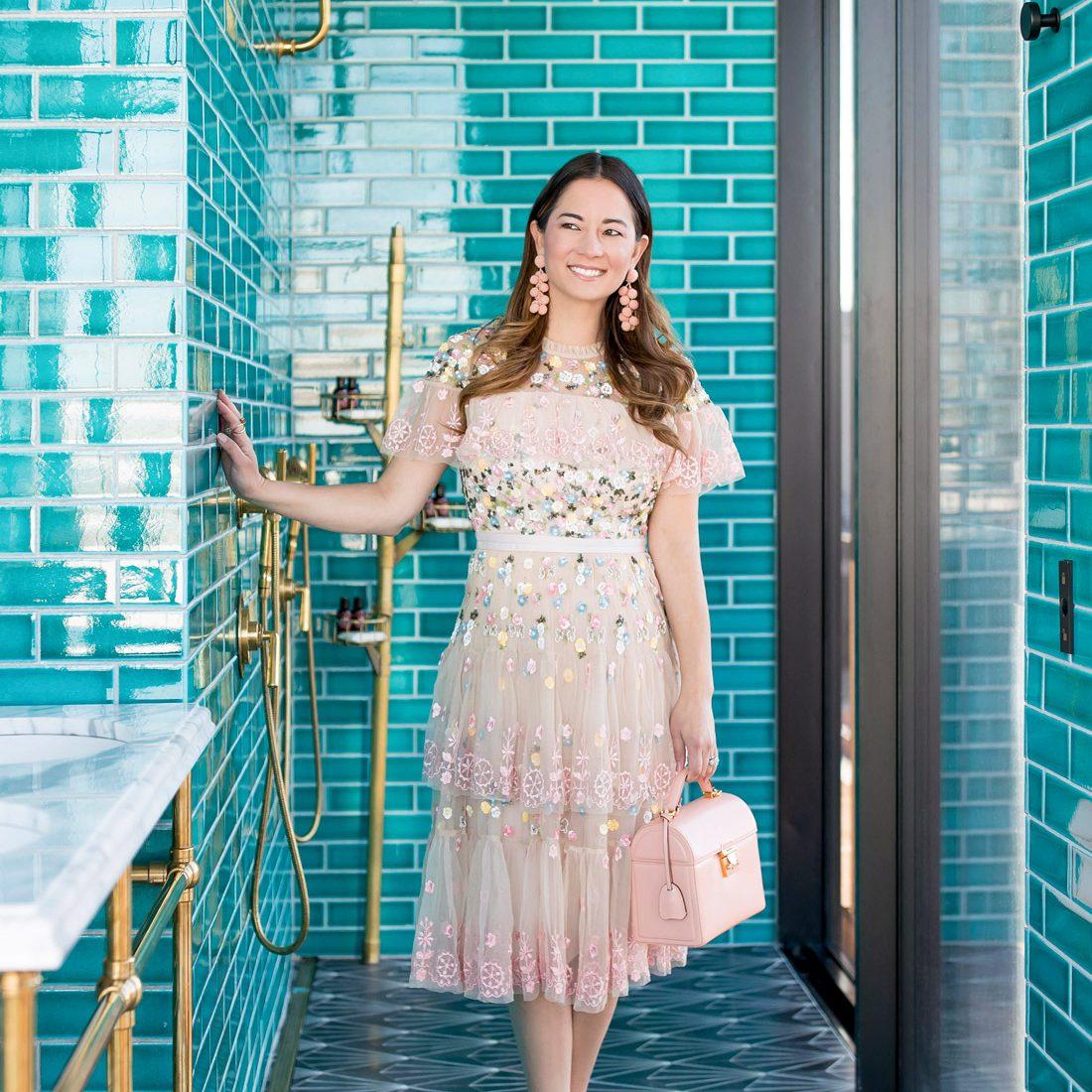 Jennifer Lake Needle Thread Pink Embellished Dress