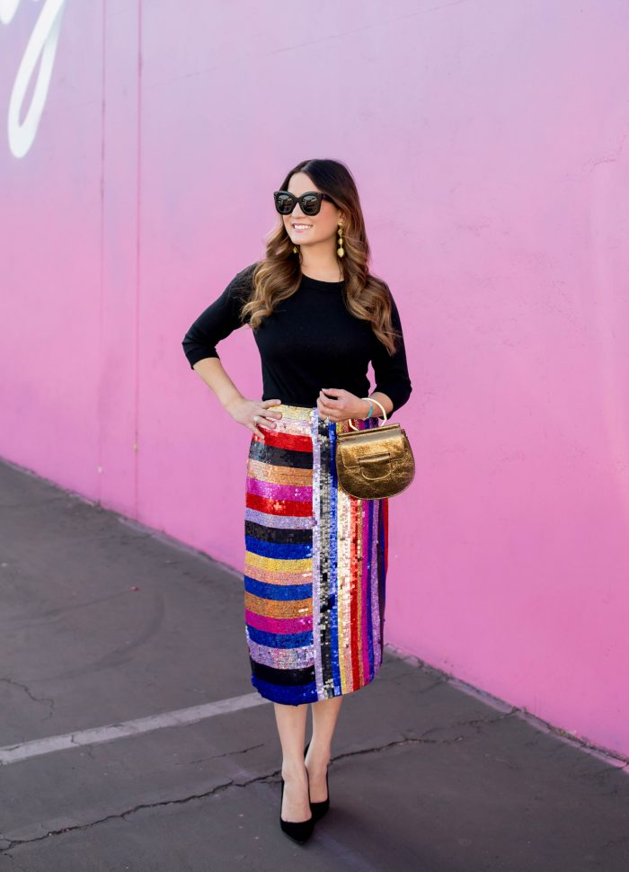Multicolor Stripe Sequin Skirt in Los Angeles